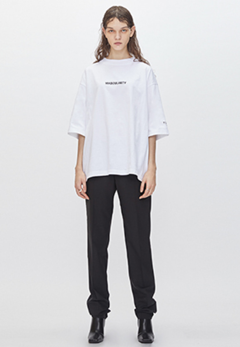 YIGNIL이그닐 White Oversized 'MASCULINITY' T-Shirt