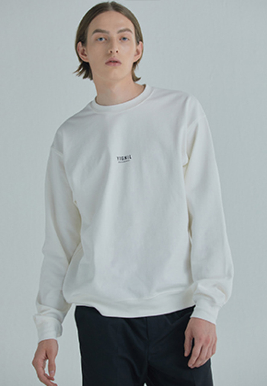 YIGNIL이그닐 White Signature 'NAME-TAG' Sweatshirt