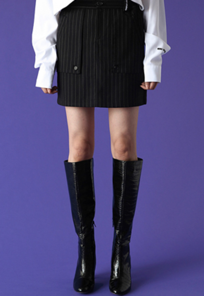ESC Studio이에스씨스튜디오 Pocket layered skirt (stripe)