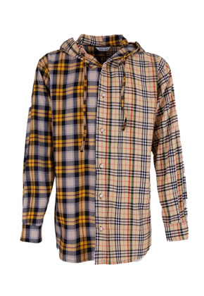 Maedaryuto마에다류토 Double Check mixed hood shirt - Beige