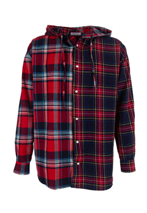 Maedaryuto마에다류토 Double Check mixed hood shirt - Red