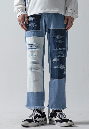 Maedaryuto마에다류토 DISTRESSED PATCH CROP JEANS