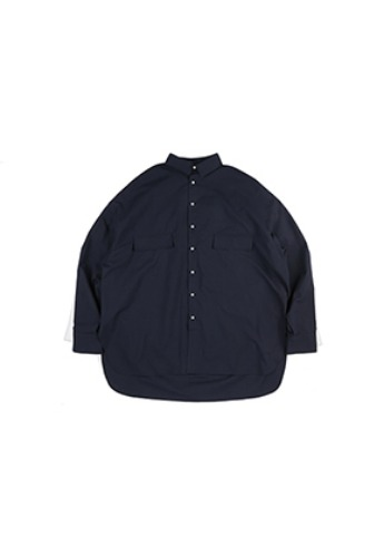 AJO BY AJO아조바이아조 Plain Seersucker Shirt [Navy]