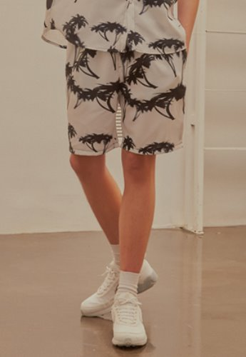 INNER CITY AUDIO이너시티오디오 PALMTREE HALF PANTS WHITE / BLACK