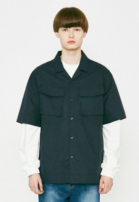 Voiebit브아빗 V456 TWO POCKET HALF-SHIRT  NAVY