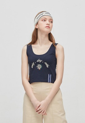 Romantic Crown로맨틱크라운 E.D.V Crop Sleeveless_Navy