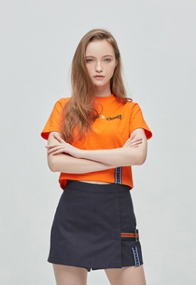 Romantic Crown로맨틱크라운 Crossway Logo Crop T Shirt_Orange