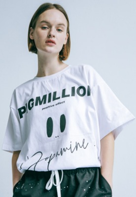 Pig million피그밀리언 [PIGMILLION x DOPAMIN.C] Hawaii Tee (WHITE)