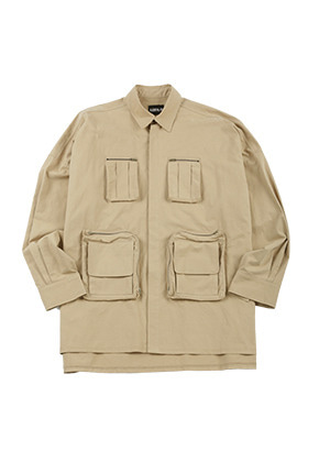 AJO BY AJO아조바이아조 Oversized Fisherman Shirt [Beige]
