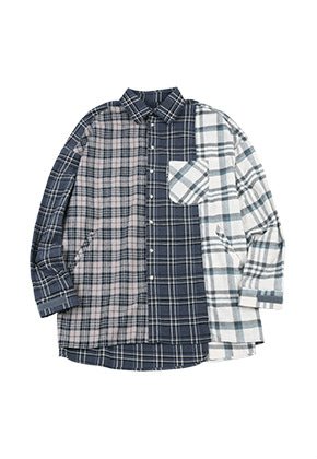AJO BY AJO아조바이아조 Oversized Check Mixed Shirt [Blue Green]