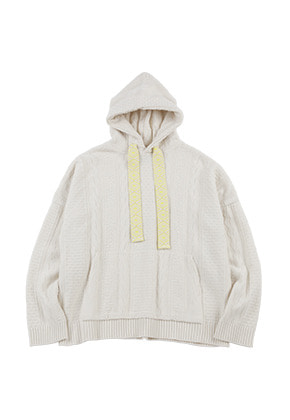 AJO BY AJO아조바이아조 Oversized Cable Stitch Knit Hoodie  [Cream]