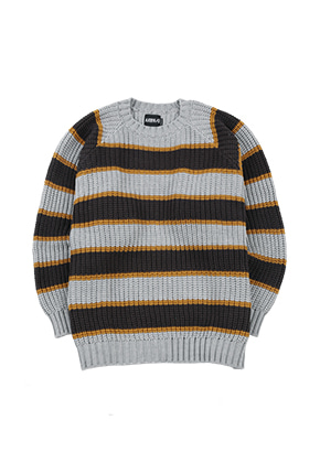 AJO BY AJO아조바이아조 Oversized Stripe Sweater [Grey]
