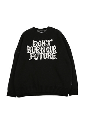 AJO BY AJO아조바이아조 Oversized Slogan Wool Knit Sweater [Black]