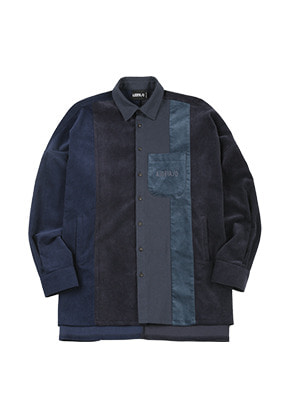 AJO BY AJO아조바이아조 Mixed Corduroy Oversized Shirt [Navy]