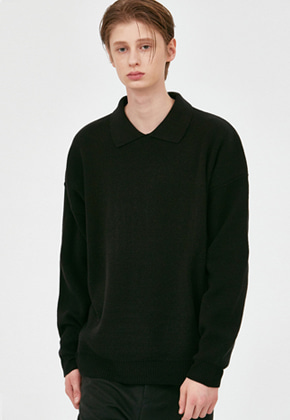 Voiebit브아빗 V568 NONE BUTTON COLLAR KNIT  BLACK