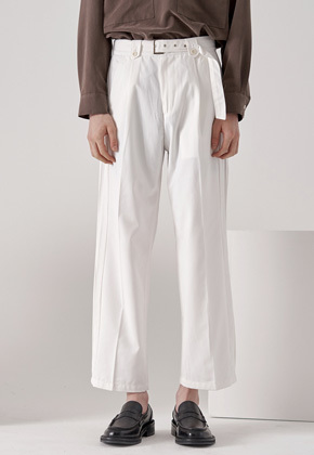 Noun노운 wide pintuck belted pants (white)