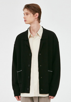 Voiebit브아빗 V572 NOAH COLLAR NECK CARDIGAN  BLACK