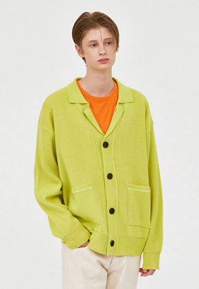 Voiebit브아빗 V572 NOAH COLLAR NECK CARDIGAN  LIME