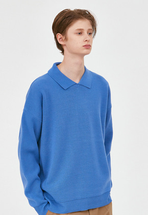 Voiebit브아빗 V568 NONE BUTTON COLLAR KNIT  BLUE