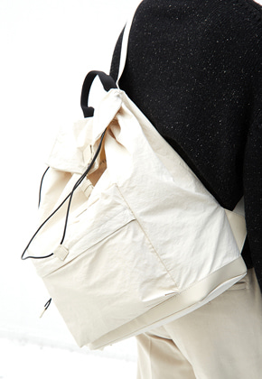 Haleine알렌느 CREAM leather/nylon backpack(KA002)