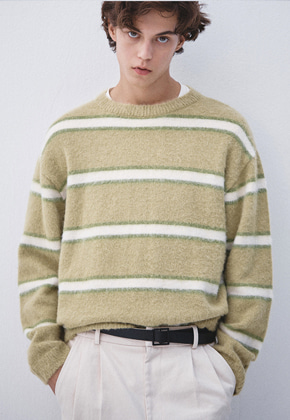 Haleine알렌느 MELONWHITE blushed alpaca stripe knit (KT015)**2차분입고*