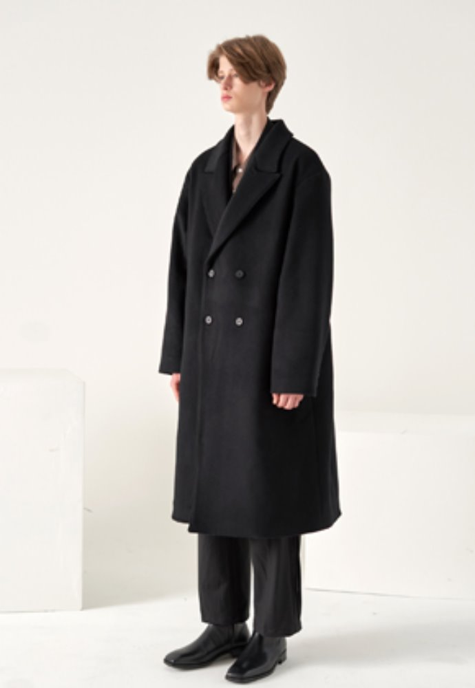 Noun노운 wide lapel double breasted coat(black)