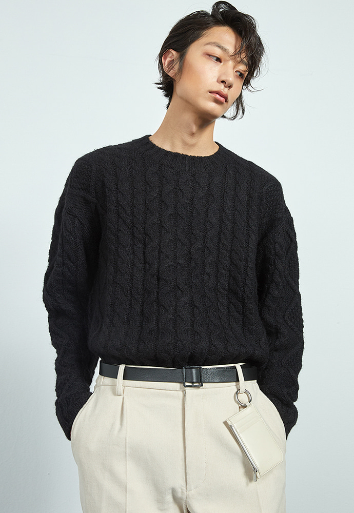 Haleine알렌느 BLACK alpaca cable knit (KT012)