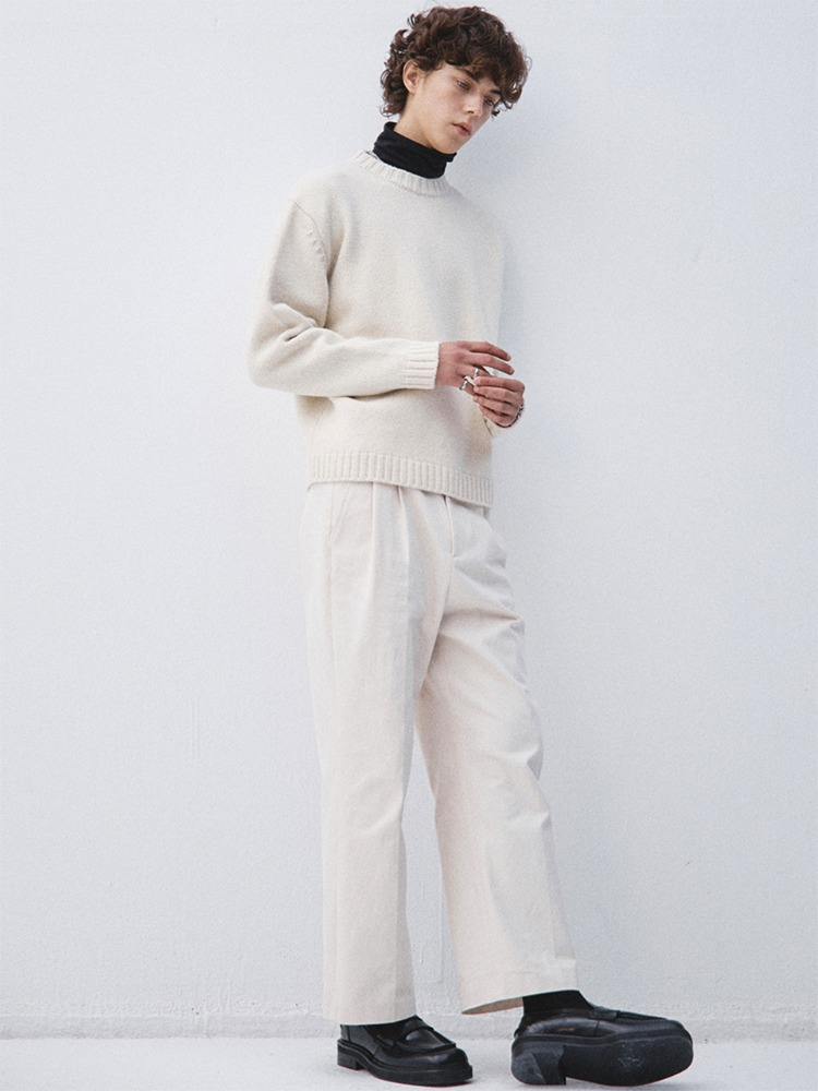 Haleine알렌느 CREAM wool silk mock neck knit (KT006)