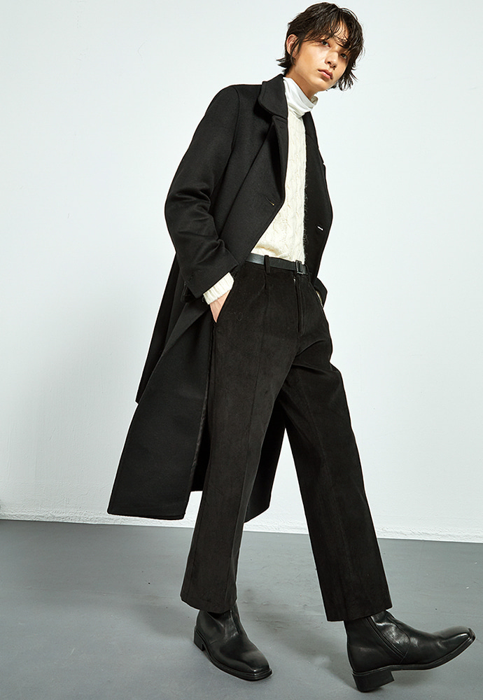 Haleine알렌느 BLACK wool long peacoat(KJ012)