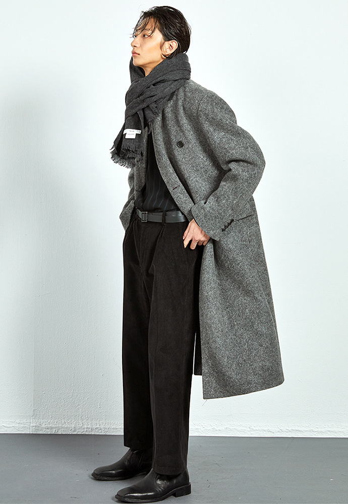 Haleine알렌느 CHARCOAL wool clasic long doublebleast coat(KJ035)