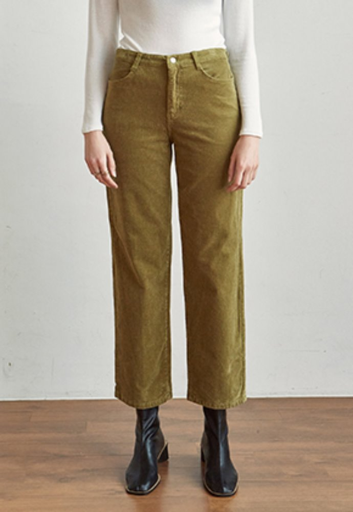 Yan13얀써틴 CORD SEMI WIDE PANTS_OLIVE