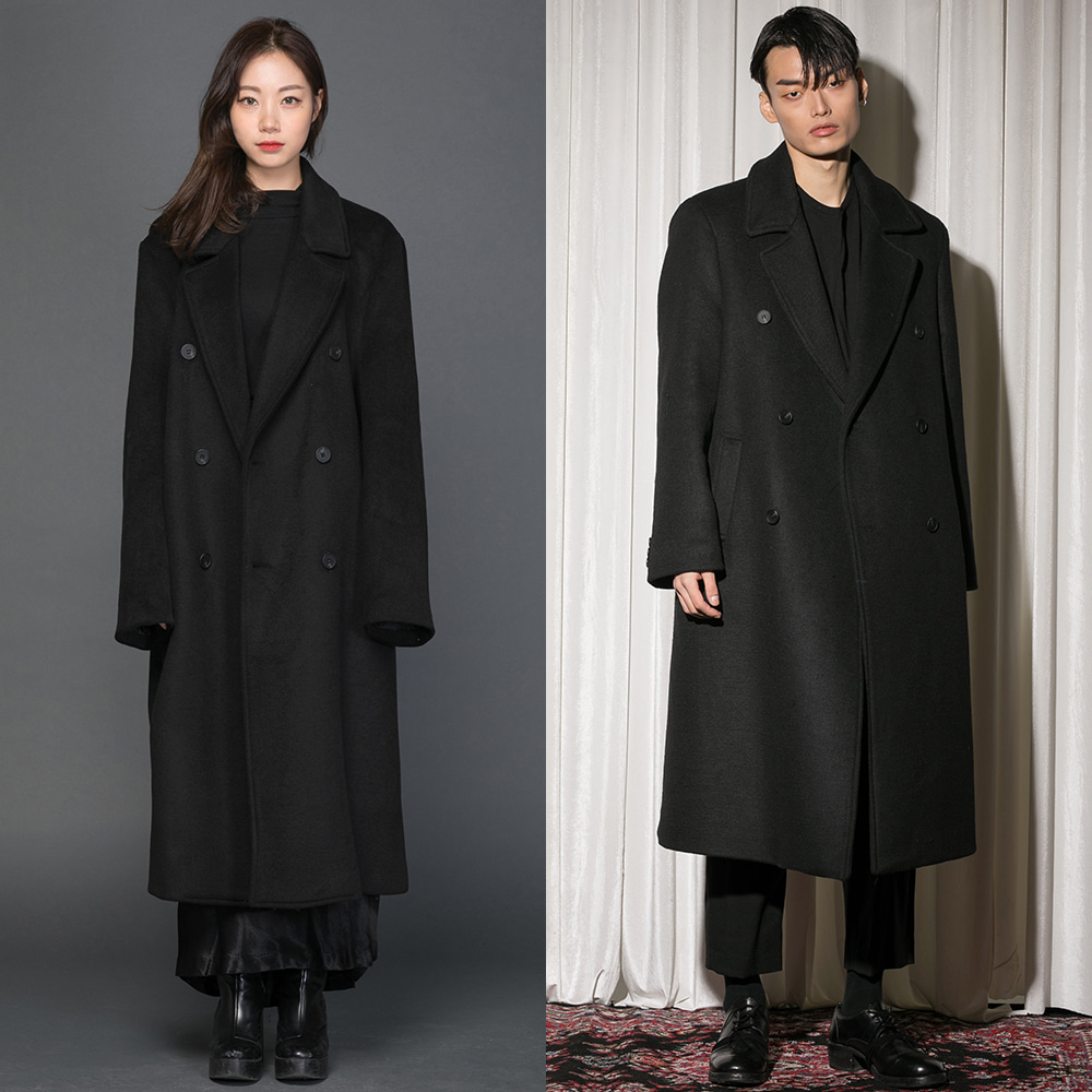 Flare up플레어업 [FLARE] over double long coat (FL-009) - BLACK