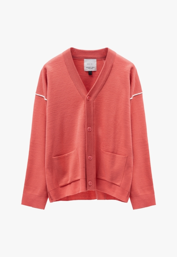 Garment lable가먼트레이블 Twofold Line Cardigan - Living Coral