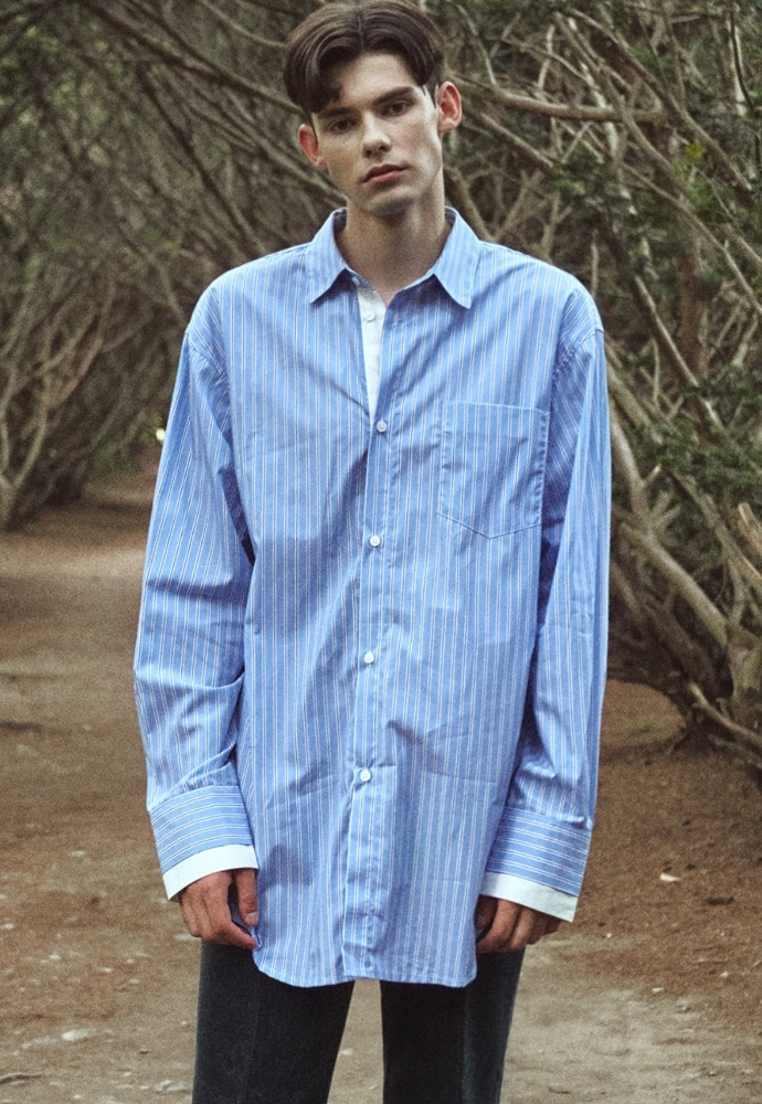 Garment lable가먼트레이블 Cuffs Layered Over Stripe Shirt - Blue