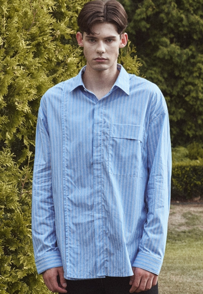 Garment lable가먼트레이블 Addition Over Stripe Shirt - Blue