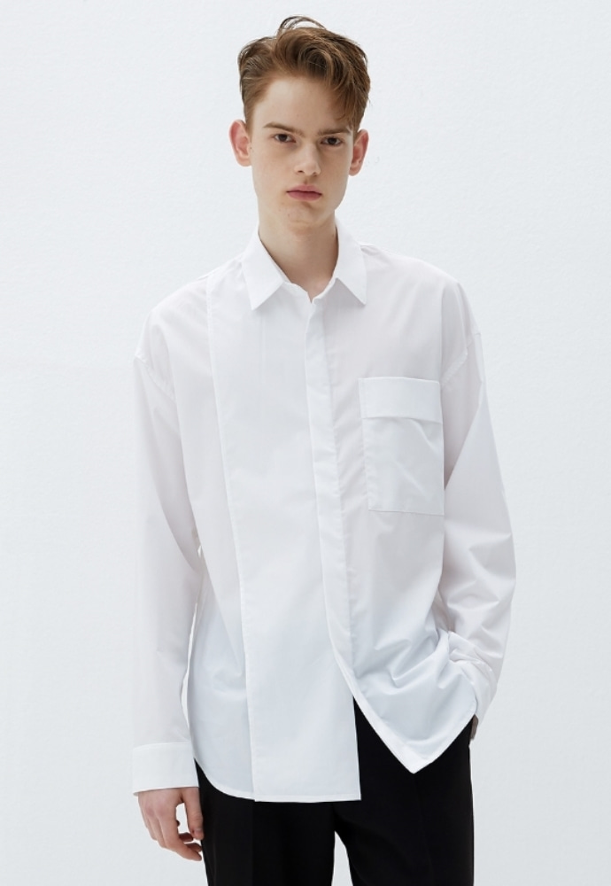 Garment lable가먼트레이블 Addition Over Shirt - White