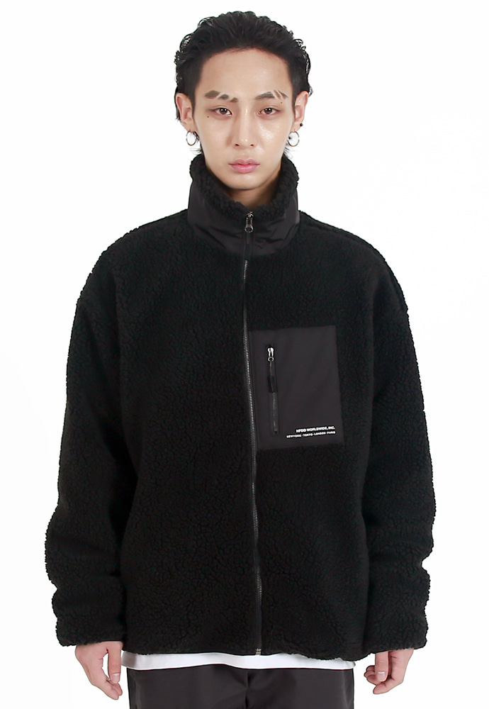 HFDD에이치에프디디 BOA DUMBLE WINTER FLEECE JACKET BLACK
