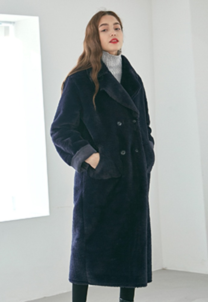 Yan13얀써틴 DOUBLE FACED LONG MUSTANG COAT_NAVY