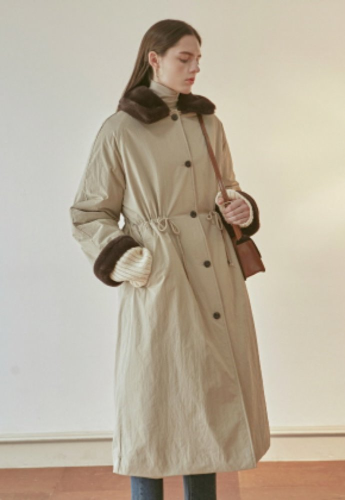Nicknnicole닉앤니콜 FUR STRING PADDING COAT_LIGHT BEIGE