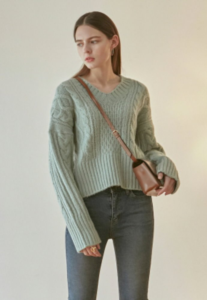 Nicknnicole닉앤니콜 IRISH CABLE V SWEATER_MINT