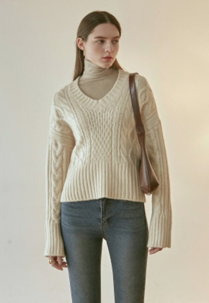 Nicknnicole닉앤니콜 IRISH CABLE V SWEATER_CREAM