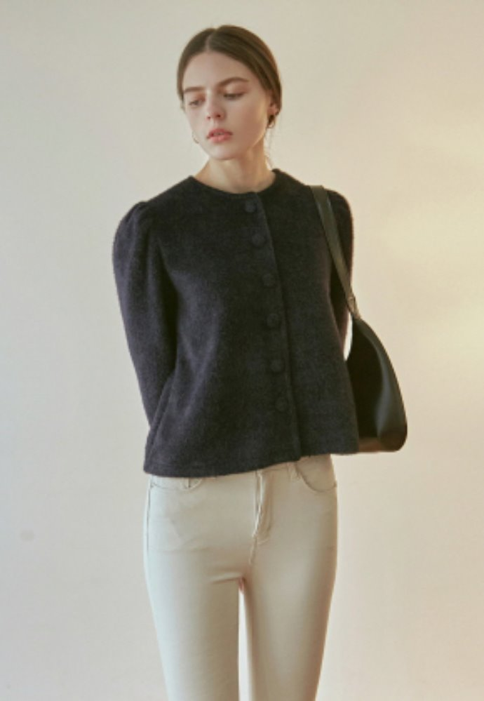 Nicknnicole닉앤니콜 WOOL PUFF CARDIGAN_NAVY