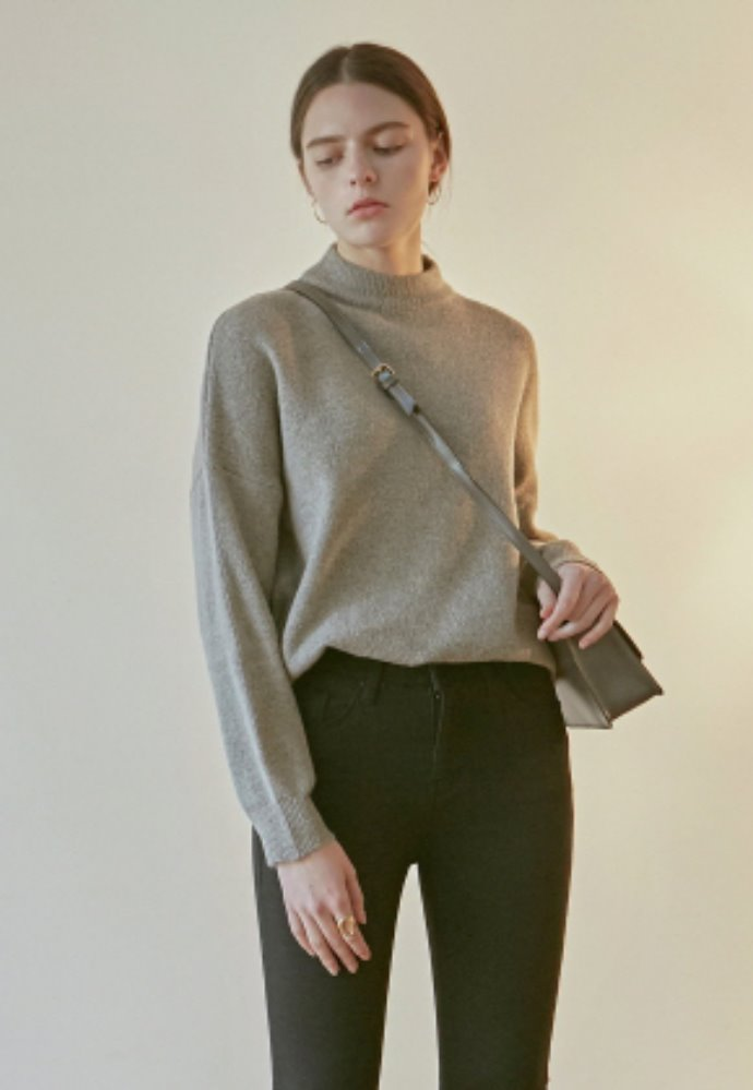 Nicknnicole닉앤니콜 OVER MOCK NECK SWEATER_GRAY