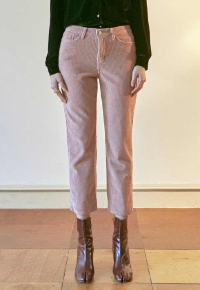 Nicknnicole닉앤니콜 SEMI WIDE CORDUROY PANTS_INDI PINK