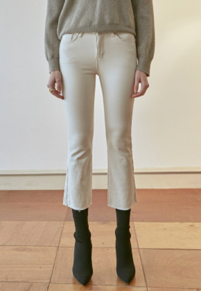 Nicknnicole닉앤니콜 SLIM BOOTCUT COTTON PANTS_CREAM