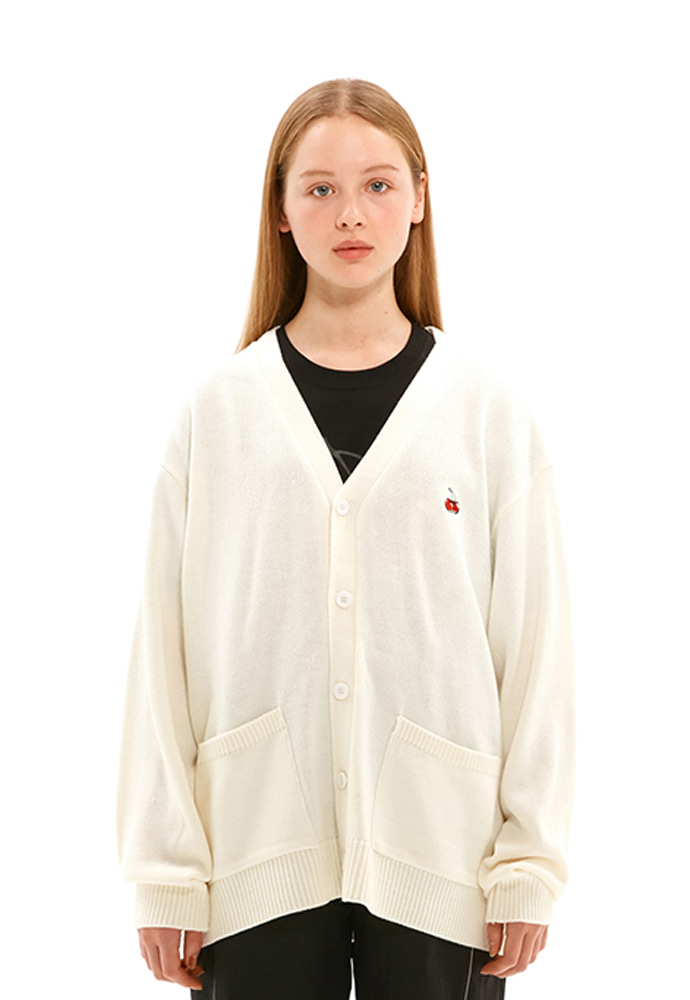 KIRSH키르시 SMALL CHERRY V NECK CARDIGAN JS [IVORY]