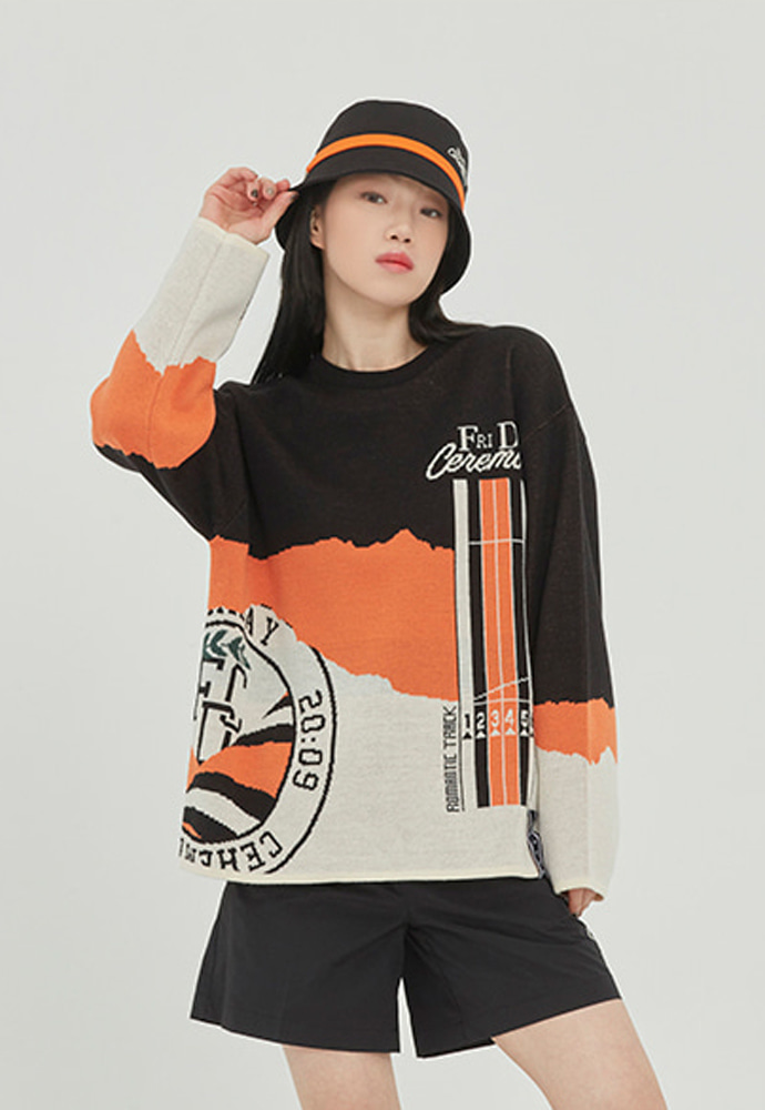 Romantic Crown로맨틱크라운 RUNNING TRACK JACQUARD KNIT_BLACK