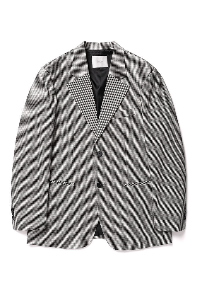 ENOU에노우 2 BUTTON CEHCK JACKET[HOUND'S TOOTH CHECK]