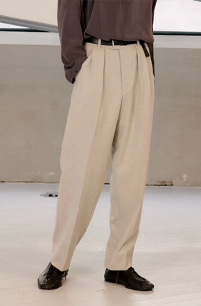 Noun노운 [noun]pleated wide tapered pants(beige)_재입고