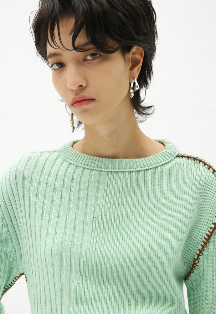 Anderssonbell앤더슨벨 CONTRAST BLANKET STITCHED CASHMERE SWEATER atb367w(PALE JADE)
